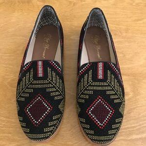 matt bernson embroidered smoking loafers - size 9